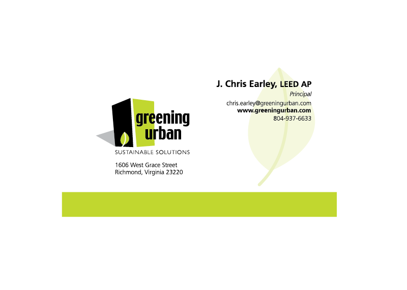 Greening Urban business card