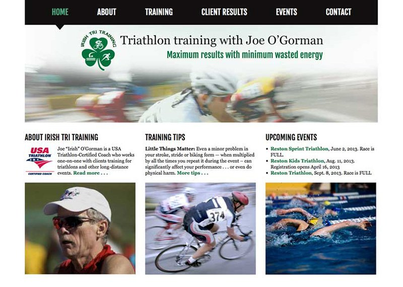 Irish Tri Training web design and development