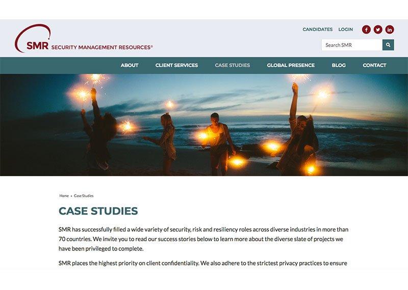 SMR web design case studies page