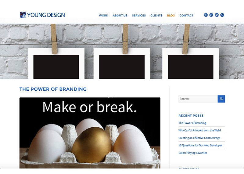 Young Design Blog page