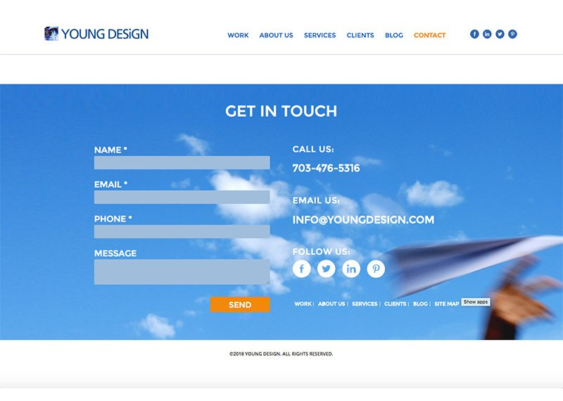 Young Design Contact page