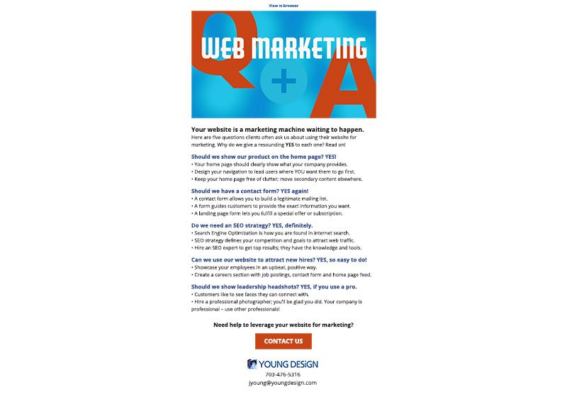 web and marketing Q&A
